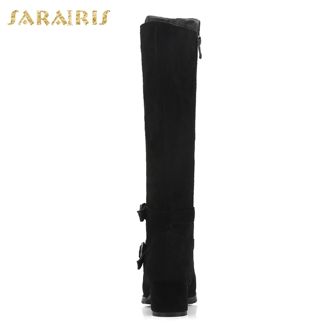 SARAIRIS Cow Suede New Zip Up Shoes Woman Boots Hot Sale Square Heels Add Fur Mid Calf Boots Woman Shoes Winter Size 34-40 2