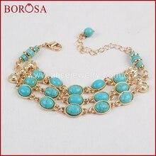 BOROSA Handcrafted Fashion Bracelet Natural Blue How-lite Stone Adjustable Boho Bracelet Loster Clasp 2017 Bohemia Style WX371