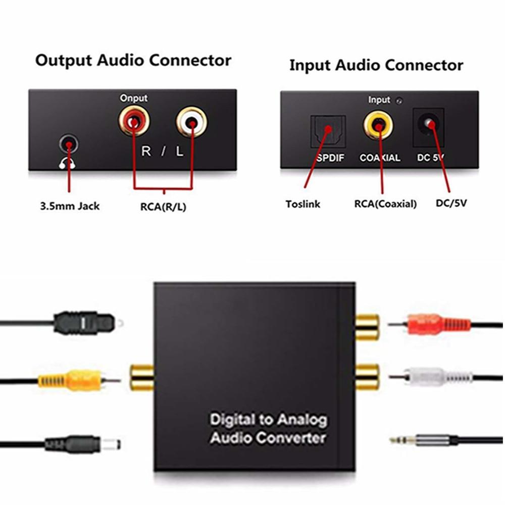3,5mm de Digital a analógico convertidor de Audio amplificador decodificador de fibra óptica Coaxial señal estéreo analógico de Adaptador de Audio