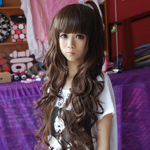 Cute Sexy Cosplay Wig Full Bangs Curly Long Heat Resistance Fibre Hair Wigs For Women
