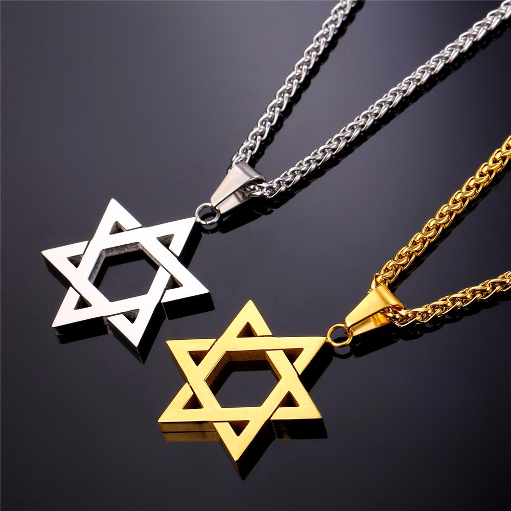 Mens necklace Magen Star Of David Necklace Geometry Pentagram Art Glass Pendant Jewish Shield Symbol Long Necklace Women Men Jewelry