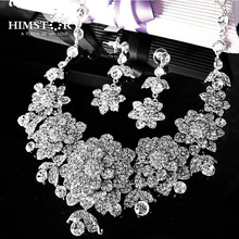 Luxury Bridal Jewelry Sets Wedding Necklace Earring For Brides Party Accessories Silver Plated Big Flowers Rhinestone