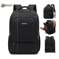 POSO New Men Backpack 17 inch Laptop Bag Large Capacity Backpack Outdoor Waterproof Backpacks Business Anti theft black Bagpack