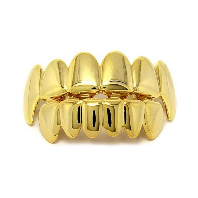1 Set Hip Hop Gold Teeth Grillz Top Bottom Grills Dental Mouth Punk Teeth Caps Cosplay Party Tooth Rapper Jewelry Bijoux