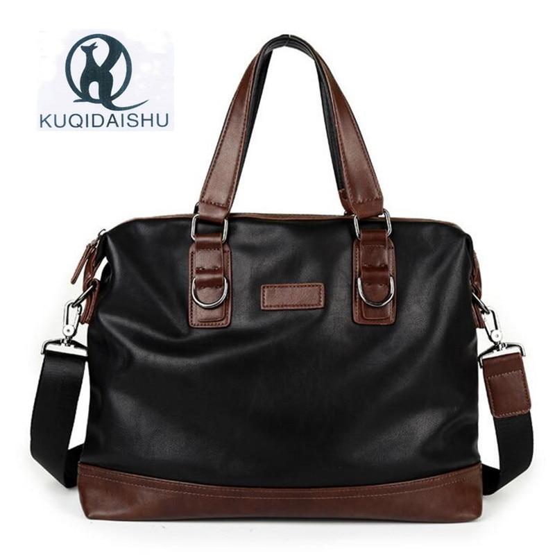 New Brand Men PU Leather Laptop Bag Vintage Business Briefcase Large Capacity Messenger Bag Maletin Hombre Bolsa Masculina