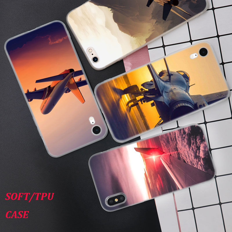 Silicone Phone Case aircraft airplane Fashion Printing for iPhone XS XR Max X 8 7 6 6S Plus 5 5S SE Matte Cover