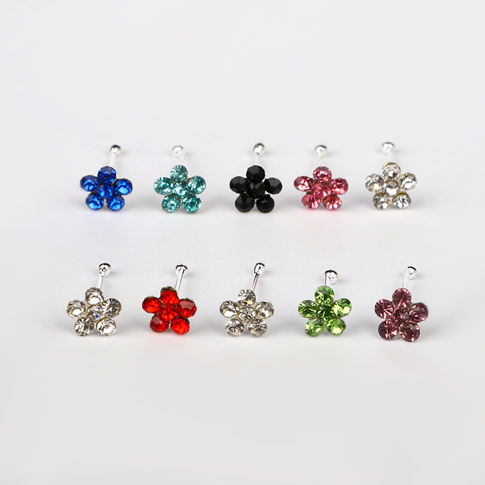 20Pcs Nose Piercing Ring Plum Blossom Flower Nose Rings Nose Pins Stainless Steel Piercing Nose Stud Body Jewelry 20PCS/pack