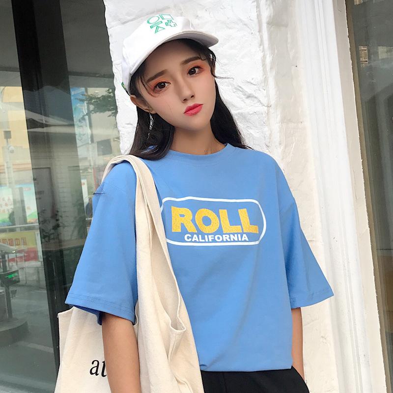 Summer T-shirts  Korean Harajuku Vintage Letter Print Short Sleeve Women Casual T-shirt