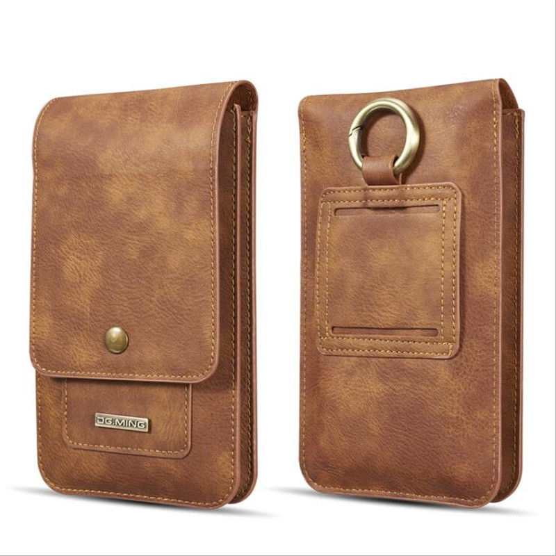 Universal Genuine Leather Waist Belt Clip Hook Loop Phone Bag Pouch Card Wallet Case Cover 5.5 6.5 Inch For IPhone Samsung All