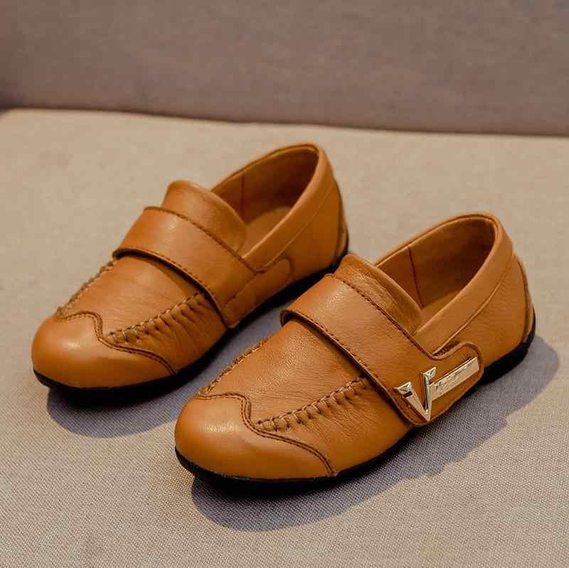 Hakiki deri çocuk ayakkabı erkek siyah elbise çocuk kadin büyük çocuk bezelye ayakkabı öğrenci okul tarzı çocuklar Moccasins kauçuk