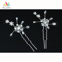 Wholesale Bridal Wedding Prom 2 pcs X Bridal Handmade Crystal Hair Pins Clips CT1410