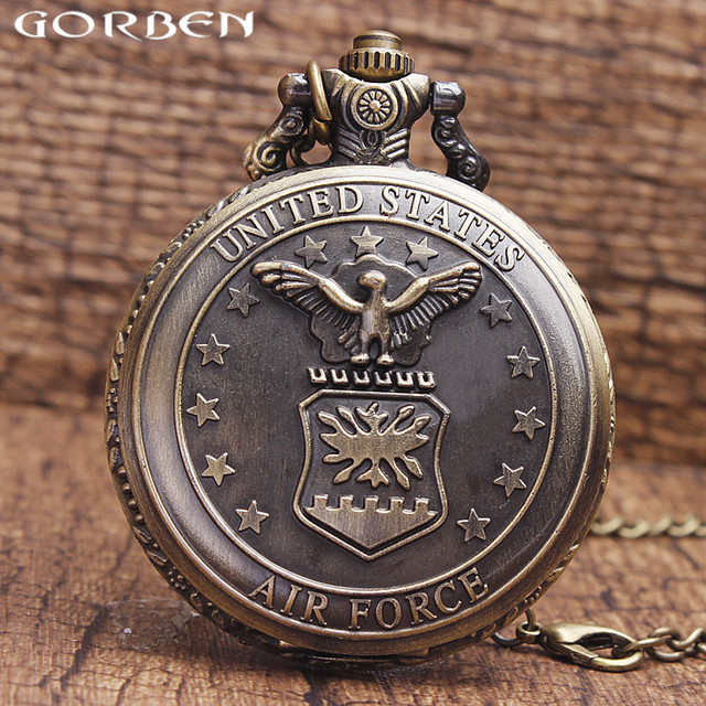Gorben Watch United State Air Force badge Pocket Watch Antique Eagle Stars Desig