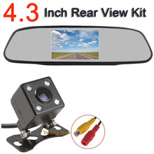 цена на HD Video Auto Parking Monitor, 4 LED  ccd car rear view camera night vision auto parking+4.3 inch Car Rearview Mirror Monitor