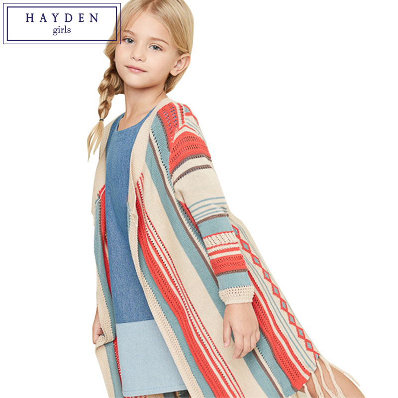 HAYDEN Teenage Girls Full Sleeve Knitted Cotton Cardigan Girl 12 Years Kids Long Tassel Cardigan Sweater Pattern Size 7 to 14 plus size geometric loose sweater kimono cardigan