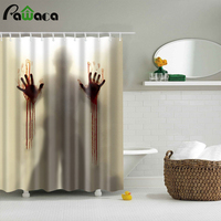 Halloween Bloody Shower Curtain Help Me With Bloody Hands Horror Scary Spooky Waterproof Bath Curtains Bathroom