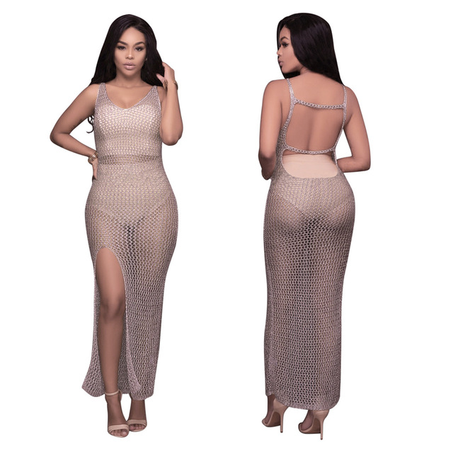 Sexy Dark Pink Backless Hollow Out See Through Beach Bodycon Maxi Dress  Women Casual Fashion Summer Vacation Robe Femme Dresses d6cb5227d