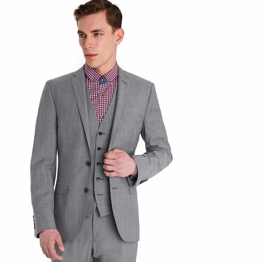 2.1 New Arrival Groom Tuxedos Light Grey Groomsmen Notch Lapel Best Man Suit Bridegroom Wedding Dinner Suits (Jacket+Pants+Vest)