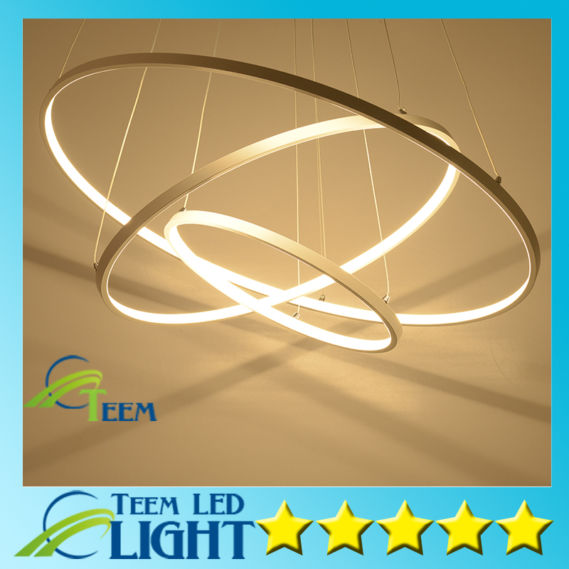 ФОТО Modern pendant lights for living room dining room 3/2/1 Circle Rings acrylic aluminum body LED Lighting ceiling Lamp fixtures