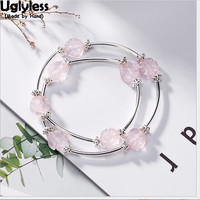 Uglyless 100% Real Solid 925 Sterling Silver Pink Crystal Flower Bracelets for Women Elastic Rope 2 Layers Fine Jewelry Beading