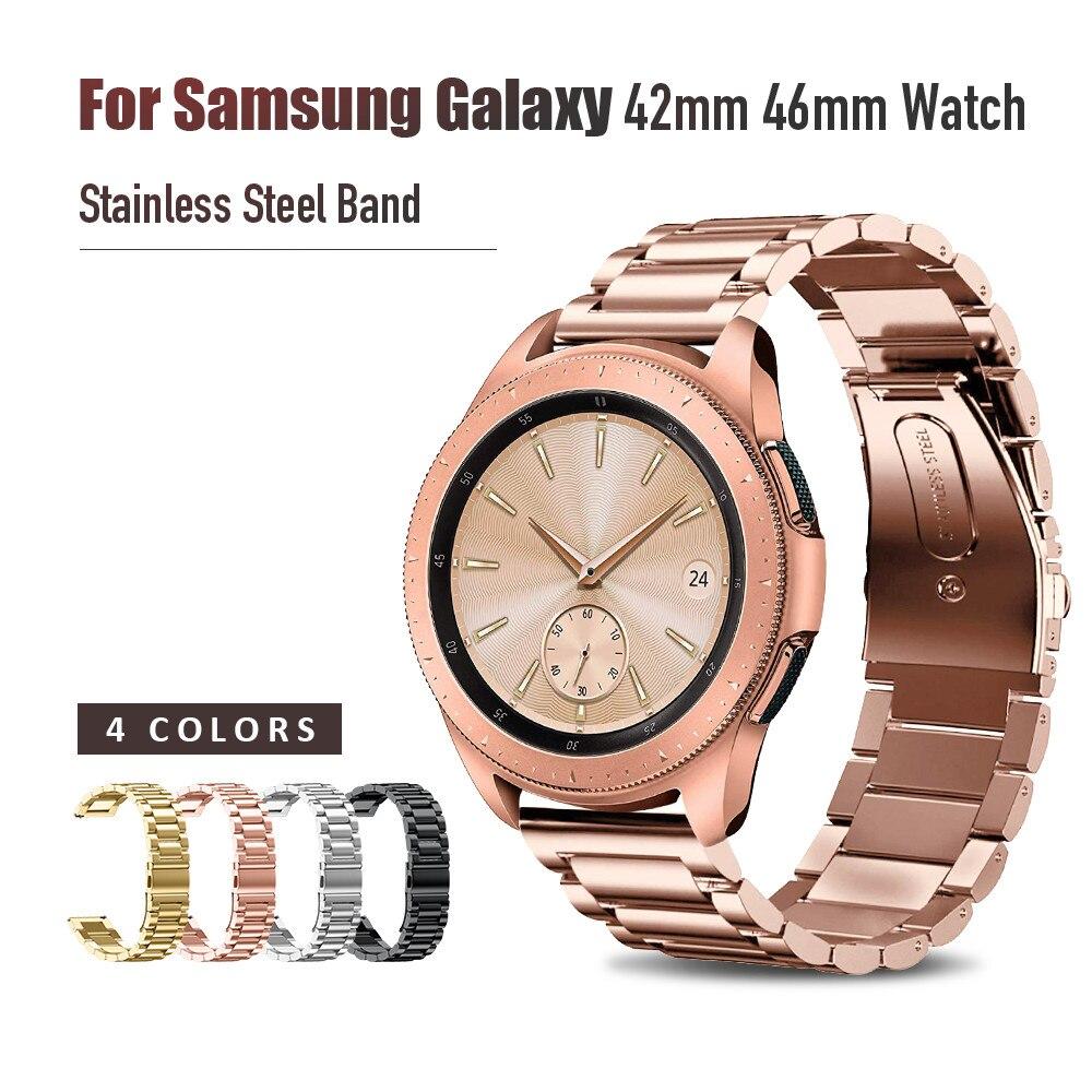 Correa de acero inoxidable para Samsung Galaxy reloj de 42mm 46mm banda con 20mm 22mm ancho pulsera de Metal tres enlaces reloj banda