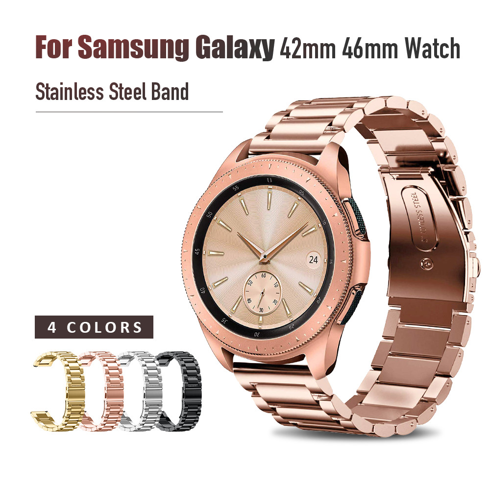 Stainless Steel Strap For Samsung Galaxy Watch 42mm 46mm Band With 20mm 22mm Width Wristband Metal Three Links Watch Band