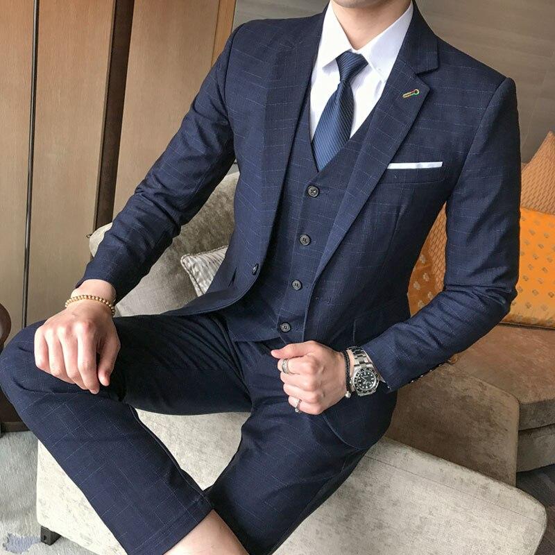 2018 Latest Coat Pant Design Custom Made Wool Blue Herringbone Retro gentleman Style Men Wedding Suits Tailor Blazer
