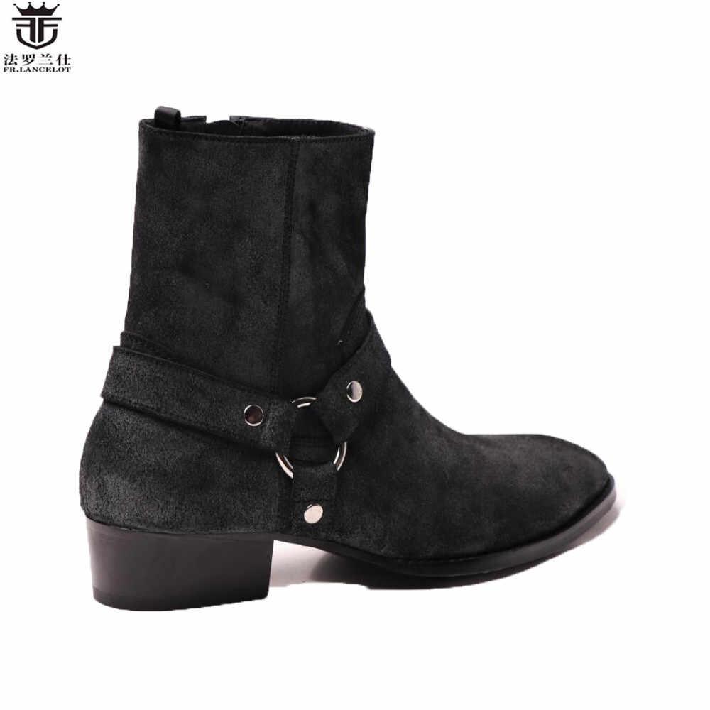 FR. LANCELOT 2019 velho estilo dos homens de botas de couro botas de camurça preta anéis de metal botas de Couro reais do tornozelo de alta top homens zip botas