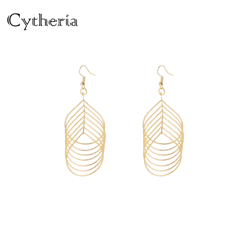 overlapping earrings gold tree leaf shape water drop Earring 7 layers Dangle Earing intersect oorbellen spiral brincos women
