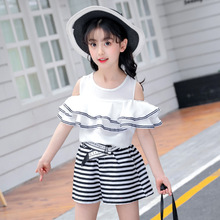 hot deal buy girls clothing sets 2019 new o-neck children clothing ruffled short sleeve clothes+shorts 3-12 children's suit baby girl clothes