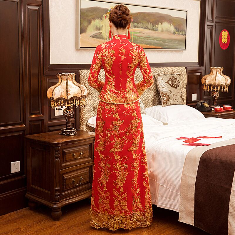 New Red traditional chinese wedding dress Qipao National Costume Womens Overseas Chinese Style Bride Embroidery Cheongsam S-XXL 7