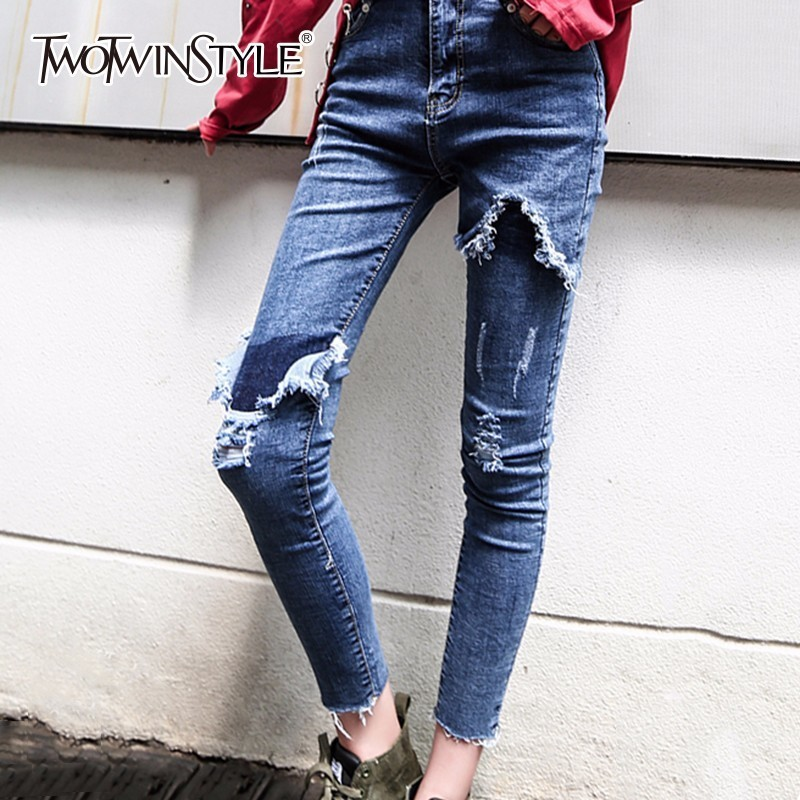 TWOTWINSTYLE Ripper Hole Denim Pencil Pants Women Legging Tassel Slim Ankle Length Jeans Female Skinny Trousers Big Size Clothes michael kors women s corduroy legging pants 0x chocolate