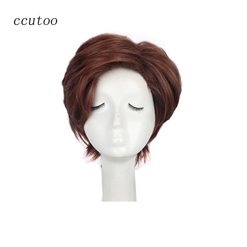 ccutoo X-Men Gambit 12 Mens Flutty Brown Short Layered Styled Synthetic Hair Cosplay Full Wig