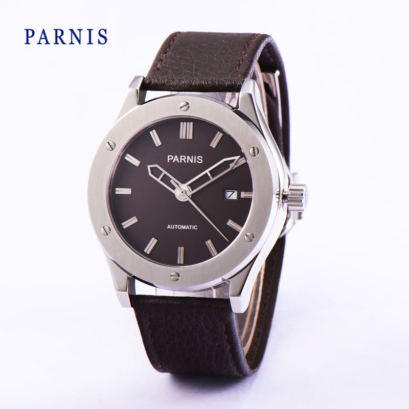 Parnis 41mm Japanese Quartz Movement Stainless Steel Case Men s Wristwatch Brown Watch Dial Silver Markers