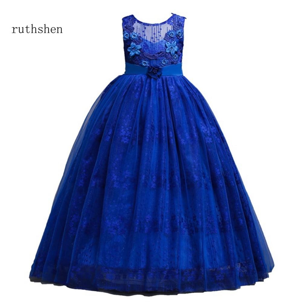 ruthshen White Royal Blue Purple   Flower     Girl     Dress   Prom Party Costume Teenage   Girls   Kids Clothes Wedding Christening Gown 2018