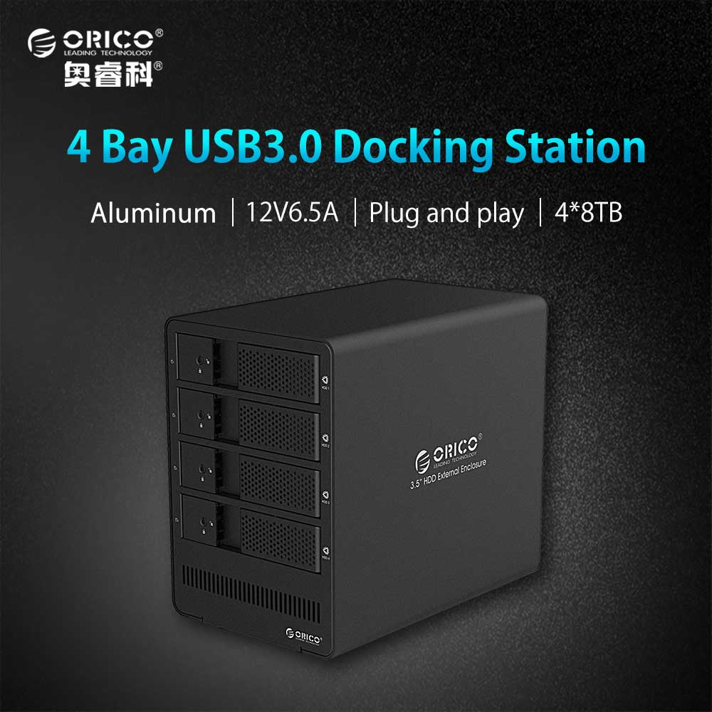 ORICO 4 Bay 3.5 Inch HDD Enclosure Tool free USB 3.0 to SATA Support 4 x 8TB 4-bay HDD Docking Station Case for Laptop PC orico cd rom space internal 3 5 inch sata3 0 hdd frame mobile rack internal hdd case [support uasp protocol