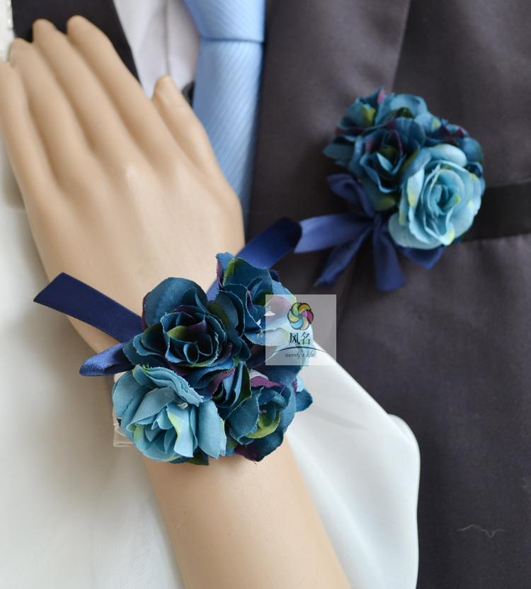 Other Mobility & Disability Handmade Corsages Blue Rose Bridal Wedding Supplies Groom Boutonniere Bride Bridesmaid Hand Wrist Flower Artificial Flower Fs101