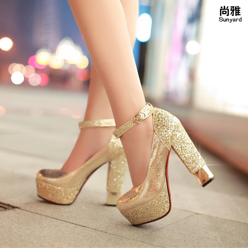 Fashion High Heeled Shoes Thick Heel Platform Champagne