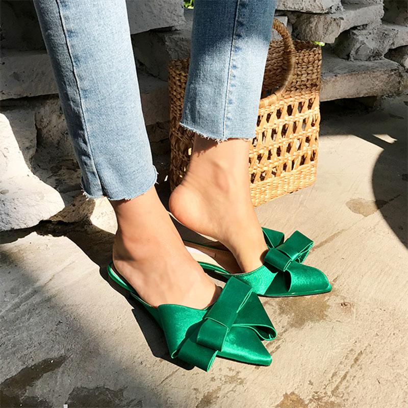 2018 scarpe da donna primaverili ed estive pantofole con fiocco a punta in raso di seta coreana set tacco piatto Baotou semi pantofole 2