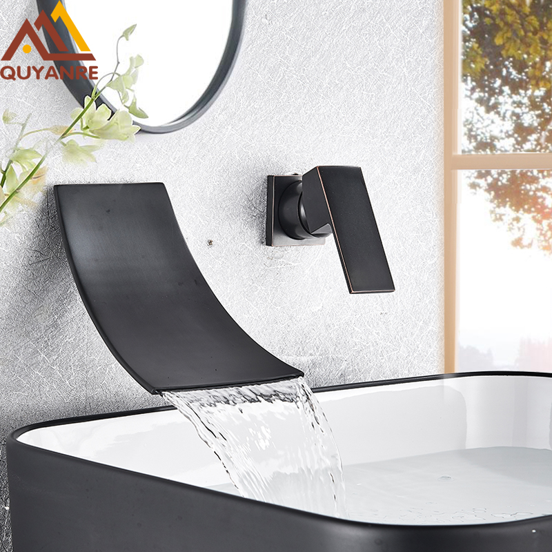 Quyanre Black Chrome Waterfall Basin Faucets Wall Mount Waterfall Faucet Single Handle Mixer Tap Bathroom Waterfall Basin Faucet