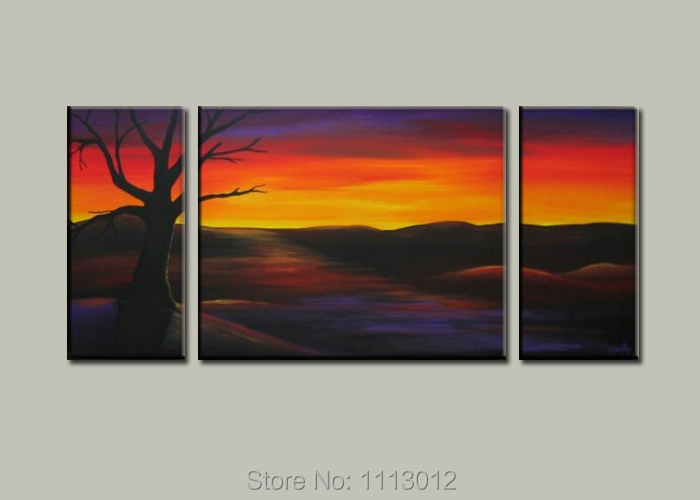 100%High Quality 3pcs Set Tree Oil Painting On Canvas Red Hill Dusk Home Wall Art Decoration Modern For Living Room Picture Sale