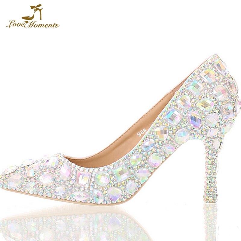 Chaussures Nuptiale Pompes Bout De Cendrillon Bal Strass Toe Partie Ab 3 8cm Pouces Pointed Talons Pointu 14cm Haute round 11cm Mariage Personnalisé Cristal round Apq5FW
