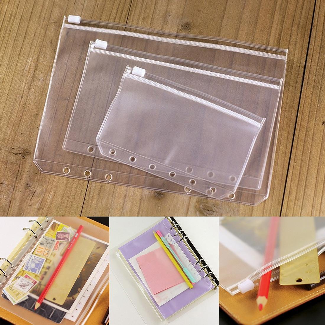 A5/A6 Universal Waterproof Transparent Document Information Bag Transparent Zipper Side Bag 6 Holes Loose Leaf Bag Bill Bag