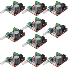 2018 New 10PCS Mini Amplifier Board 2X10W(8ohm) DC7.5-15V Dual Channel Class D PAM8610 Audio Stereo Amplifier Board-10001019 10pcs lot new tda2050v tda2050 to220 5 audio frequency amplifier