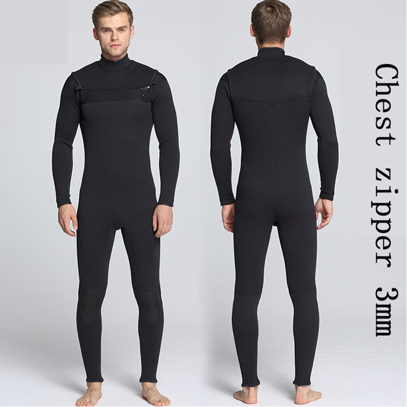 Men 3mm new all-black front chest open zipper diving suit  thickening surfing suit full body wetsuits size S-XXL inov 8 сумка all terrain kitbag black