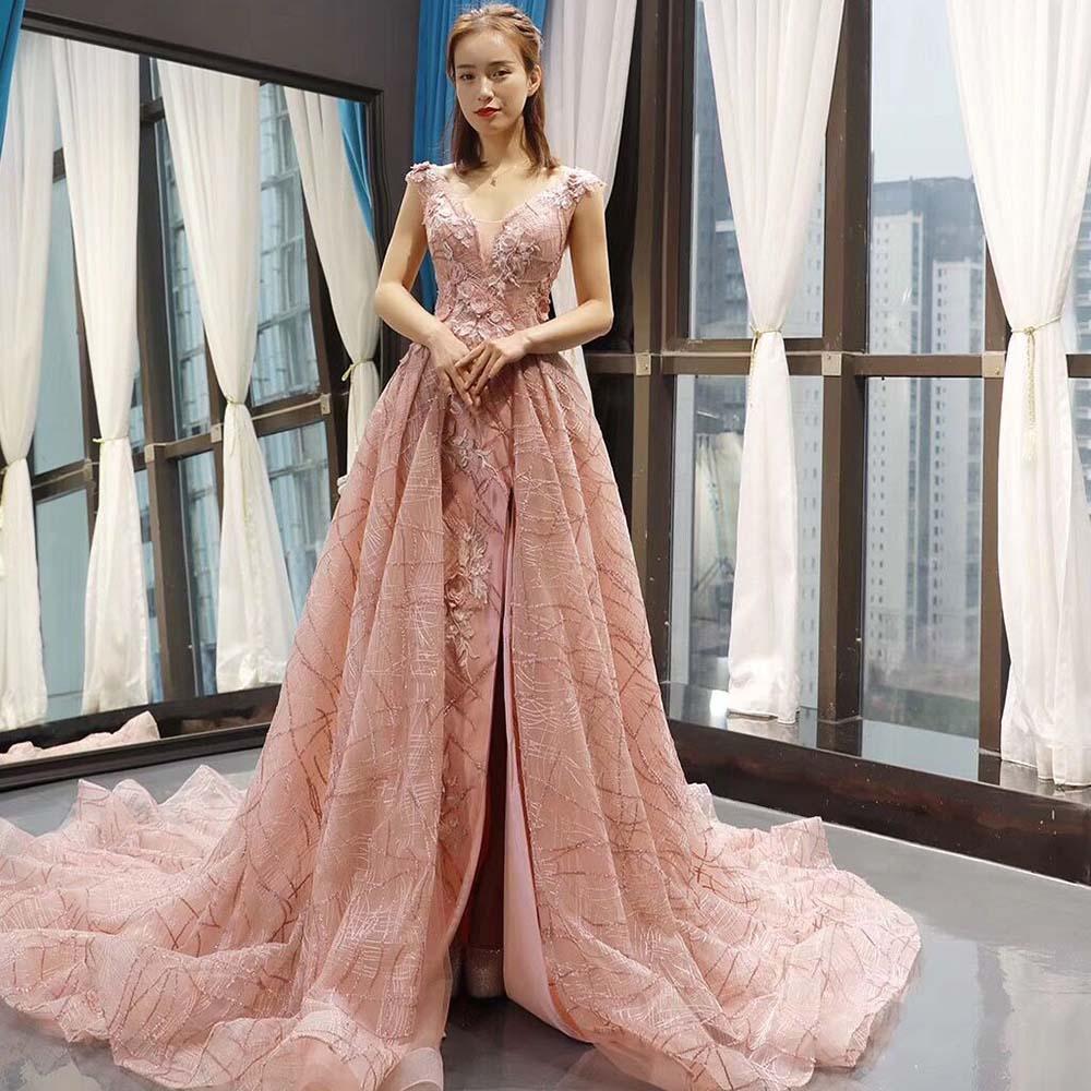 Paillettes longues robes De soirée robe 3D fleurs fendues côté col en V nouvelles robes De soirée formelles Vestido De Festa