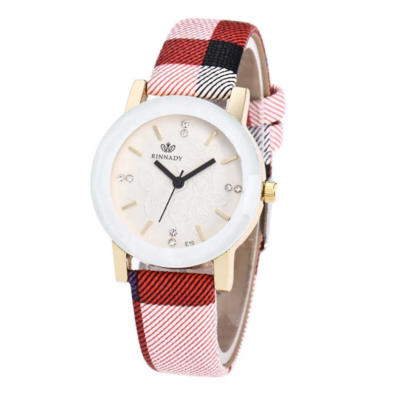 Women Watches Plaid Striped printed Leather Band Analog Quartz Round Wrist Watches ladies watch feminino Dropshipping 33