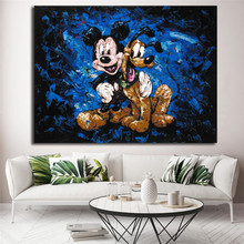 Mickey Mouse's Best Friend Pluto Minimalist Watercolor Art Canvas Poster Painting Wall Picture Print Home Bedroom Decoration HD(China)