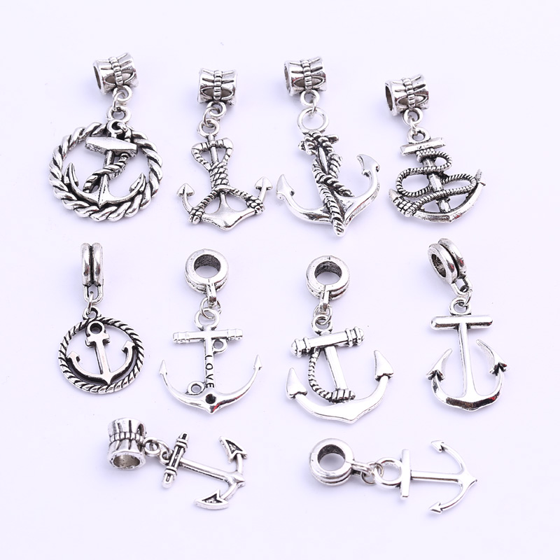 Antique Silver Anchor Charms Beads For Pandora Charms Diy Metal Zinc Alloy Anchor Beads for Bracelets Jewelry Making B8792