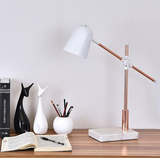 Balance Arm Table Lamp In Rous Satin Golden Finish With Marble Base