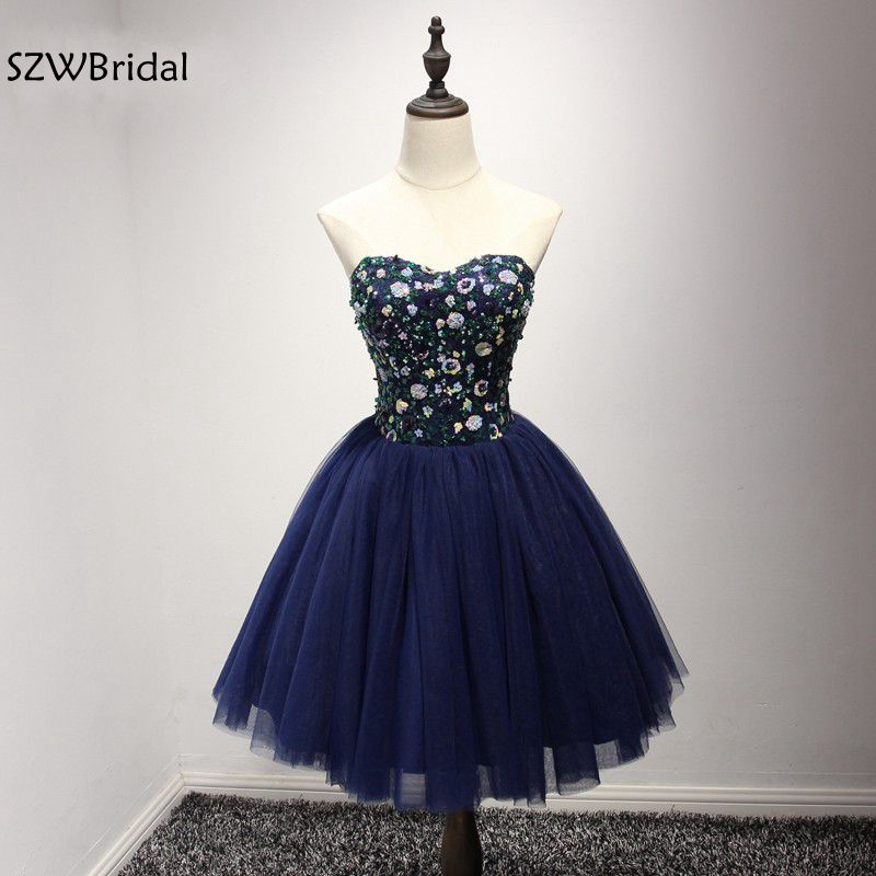 New Arrive Off the shoulder Navy Blue   Cocktail     dresses   2019 Sequine lace beaded vestido de festa coctail   dress   ever pretty